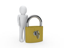 3d man padlock key Royalty Free Stock Photo