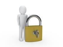 3d man padlock key. Security lock human Royalty Free Stock Photo