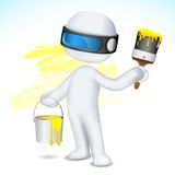 3d Man with Paint Bucket and Brush Stock Photo