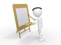 3d man painting on canvas Royalty Free Stock Images