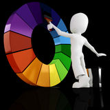 3d man painting a color wheel. Isolated on black Stock Photos