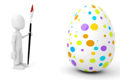 3d man painting an egg Royalty Free Stock Photo