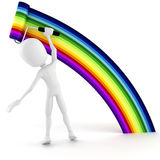 3d man painting a rainbow Royalty Free Stock Photography