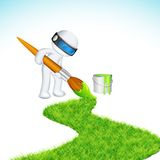 3d Man painting Road. Illustration of 3d man in vector fully scalable painting grass road Stock Photo