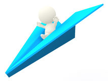 3D man on paper airplane Royalty Free Stock Image