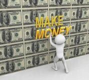 3d man pasting make money text. 3d man placing 'make money' text on dollar wall Royalty Free Stock Photo