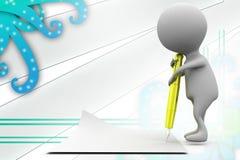 3d man pen paper illustration Royalty Free Stock Photography