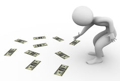3d man picking money Royalty Free Stock Photo