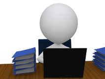 3d man with a pile of work on his desk Royalty Free Stock Photo