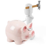 3d man and pink pigbank Royalty Free Stock Images