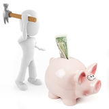 3d man and pink pigbank Stock Images