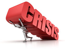 3d man pinned down by heavy CRISIS word Royalty Free Stock Images
