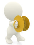 3D man playing cymbals Stock Images
