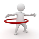3d man playing hula hoop. Exercise on white background Stock Photography
