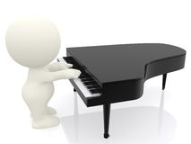 3D man playing piano Royalty Free Stock Images