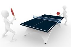 3d man playing ping pong. Isolated on white Royalty Free Stock Image