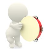 3D man playing the tambourine Royalty Free Stock Image