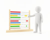 3D man pointing at an abacus. 3D man with a colorful abacus Stock Photo