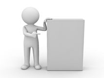 3d man pointing finger at blank box Stock Photos
