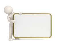 3d man pointing to empty board - Gold frame. 3d man pointing to empty board with Gold frame - Copyspace - Isolated Royalty Free Stock Photos