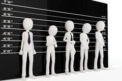 3d man with police lineup wall. On white background Stock Images