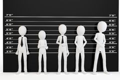3d man with police lineup wall. On white background Royalty Free Stock Photos