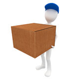 3d man post man with delivery. 3d man post man delivery box  blue cap Royalty Free Stock Photos