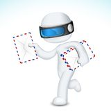 3d Man in  with Postal Envelope. Llustration of 3d man in  fully scalable deliverying postal envelope Stock Images