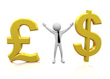 3d man with Pound and Dollar symbol Royalty Free Stock Images