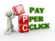 3d man and ppc cubes. 3d person placing ppc pay per click cubes. 3d human people character illustration