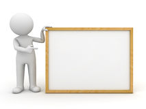 3d man presenting blank board. White 3d man holding blank board and pointing finger at it over white background Royalty Free Stock Photo