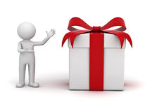 3d man presenting gift box Stock Images