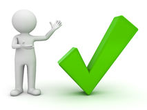 3d man presenting green tick. 3d man presenting green check mark over white background Royalty Free Stock Photo