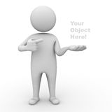 3d man presenting your product. 3d man holding your product and pointing finger at it on white background Royalty Free Stock Photos