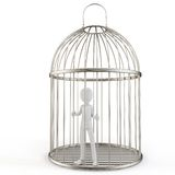 3d man prisoner in a silver cage. Isolated on white Royalty Free Stock Image