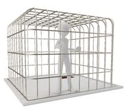 3d man prisoner in a silver cage. Isolated on white Stock Photography