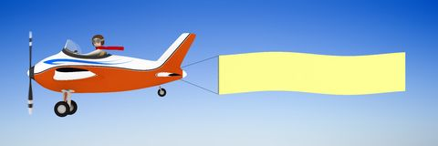 3d man pulling banner with plane. 3d man pulling clear banner with airplane Royalty Free Stock Photos