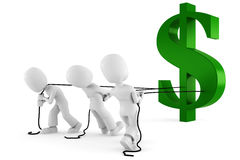 3d Man Pulling The Dollar Symbol Stock Photography