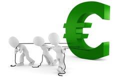 3d Man Pulling The Euro Symbol Stock Photos
