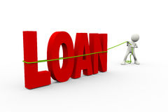 3d Man Pulling Word Loan With Rope Royalty Free Stock Images
