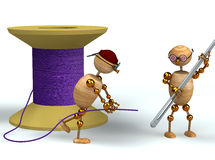 3d man and purple bobbin with needle Stock Images