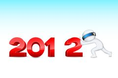 3d man pushing 2012. Illustration of 3d man in vector fully scalable pushing 2012 Royalty Free Stock Image