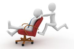 3d man pushing the boss with chair. Isolated on white Stock Photography