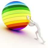3d man pushing a colorful ball Royalty Free Stock Images