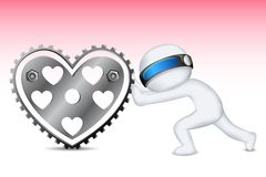 3d Man Pushing Gear Heart Stock Photography
