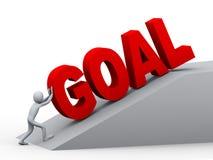 3d man pushing goal Royalty Free Stock Photography