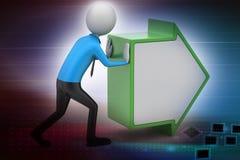 3d man pushing the green arrow Stock Photos