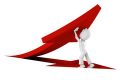 3d man pushing a red arrow from the ground. On white Royalty Free Stock Photos