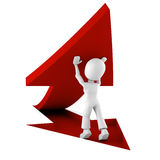 3d man pushing a red arrow from the ground vector illustration