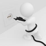 3D man putting pin plug into socket. 3D human putting two pin plug into socket Royalty Free Stock Images